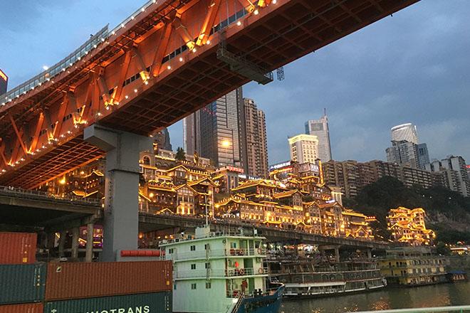観光船から見る重慶市夜景3